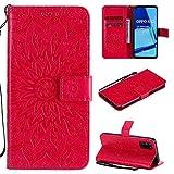 Yhuisen Girasol diseño de la impresión de la PU del tirón del Cuero Monedero Caja Protectora de Cuello for OPPO A52 / A72 / A92 (Color : Rojo)