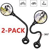 HUBUISH Bike Rear View Mirror, Adjustable Rotatable Bicycle Rear View Glass Mirror,HD Mirror,SSuitable for Many Types of Bicycles, Unisex-2 PCS