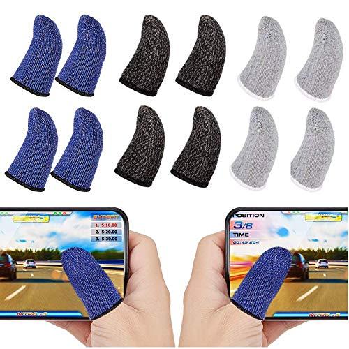 BRUCH(ブラッシュ)荒野行動 PUBG Mobile スマホゲーム用 指サック 指カバー 12個入り 超薄 手汗対策 銀繊維 高感度 素手のような操作感 Android/iPhone/iPad/タブレット 対応 (3色セット)