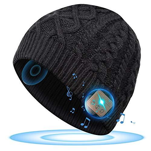 Cadeaux Homme Original Bonnet Bluetooth - Cadeaux Noël Bonnet avec Casque Sans fil Bluetooth 5.0, Calendrier de l'avent pour Papa/Mari/Petit Ami, Musique Bonnet Femme Hiver, Cadeaux pour Sports/Ski