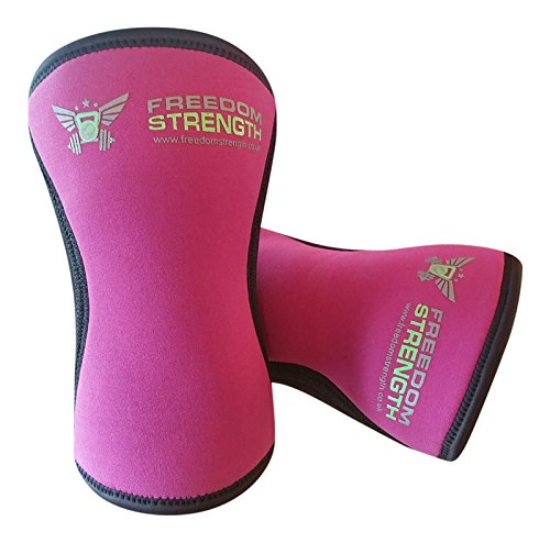 Freedom Strength Ginocchio Maniche Rosa 7mm Coppia per Strongman Power Lifting Peso di Sollevamento