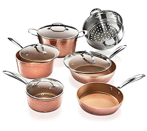 Gotham Steel Pots and Pans Set – Premium Ceramic Cookware with Triple Coated Ultra Nonstick Surface for Even Heating Oven Stovetop amp Dishwasher Safe 10 Piece Hammered Copper