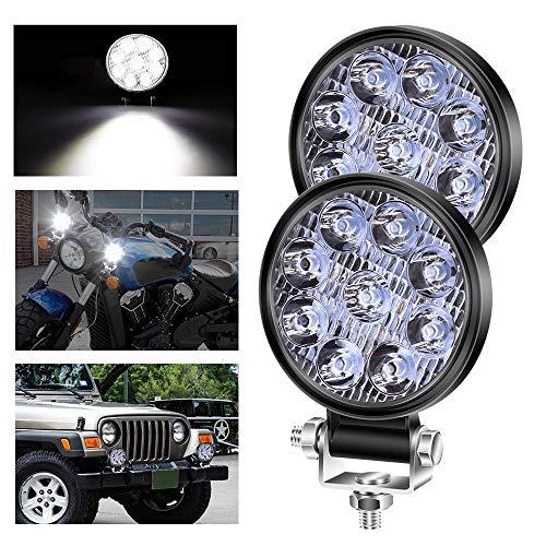 YnGia Luz de trabajo LED redonda de 27W, 2 unidades de mini foco para conducción todoterreno, luz antiniebla ultradelgada de 3 pulgadas, blanca, 12V 24V para coche, barco, SUV, ATV, camión, tractor