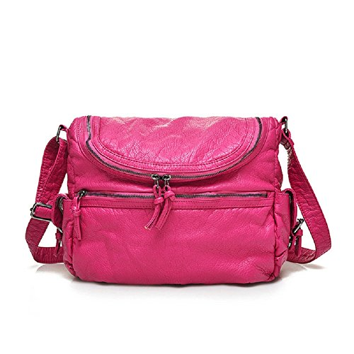 MiCoolker Vintage Soft PU Leather Messenger Bag, Rose
