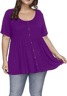 0808e8bceab Allegrace Women s Plus Size Henley Scoop Neck Button Tunic Tops Short  Sleeve Swing Flowy Shirts