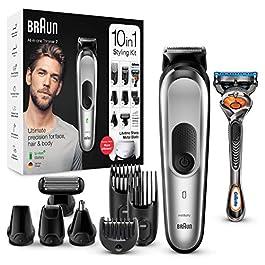 Braun 7 Tout-En-Un Tondeuse Électrique Homme Cheveux Et Corps, Gris Argent, 10-En-1 Avec 8 Accessoires, Base De Recharge…