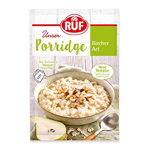 RUF Porridge Bircher Art mit Vollkorn-Haferflocken, gehackten Haselnüssen und Birnen- und Apfelstückchen, 1 x 65 g