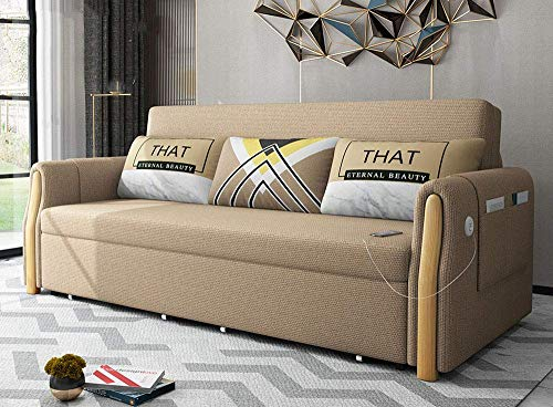 N/Z Home Equipment Futon Couch Loveseat Sofa Bed Convertible Folding Sofa Pull Out Couch Modern Multifunctional Storage Living Room Sleeper Sofa Furniture with Detachable Armrests Washable Gray 1.5M