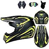 WAHA Casco de Motocross,Casco Moto niño,Casco Motocross niño Set(Gafas/Máscara/Guantes),Casco para Descenso para niño,Casco Motocross Integral,Amarilla,XL