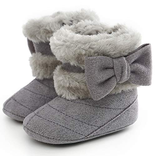 LiveBeauty Baby Boy Girl Winter Snow Boots,Cotton Anti-Skid Sole Bow Warm Infant Toddler Prewalker Booties Crib Shoes for Girls Boys Grey, 6-12 Months Infant