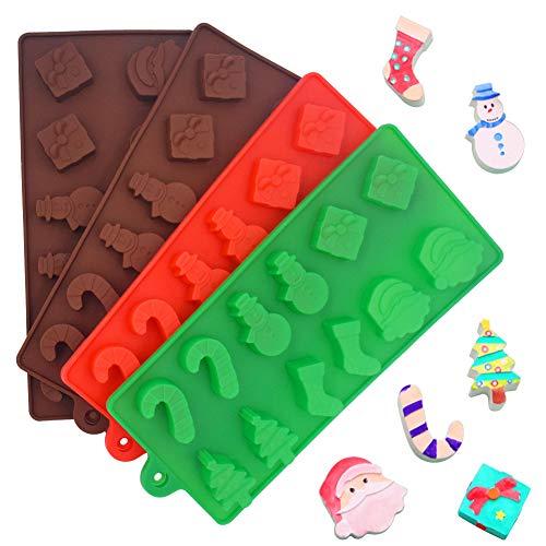 INTVN 4 moldes de Silicona para Tartas de Navidad, Chocolate, Dulces, jaleas, bandejas de Horno antiadherentes para...