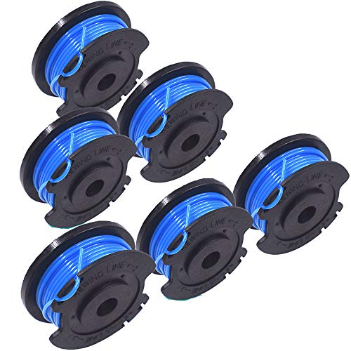 """Yesjoy Lawn Mower String Trimmer Spool Line Replacement 6 Pack 0.065"""" Compatible with Greenworks Auto-Feed Dual Line Weed Eater String (6)"""