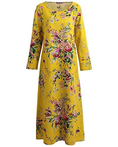 Romacci Damen Vintage Maxi Blumenkleid mit Langen Ärmeln Baumwolle Leinen Lose Kleid Dress, Gelb, 5XL