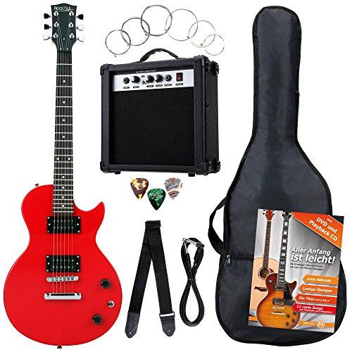 Rocktile Banger's Pack Komplettset E-Gitarre Single Cut Rot (Verstärker, Tasche, Kabel, Gurt, Plecs, Ersatzsaiten und Schule mit CD/DVD)