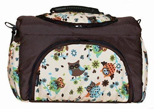 Wickeltasche PIA Baby-Joy XXL XXXL Übergroß Windeltasche Pflegetasche Babytasche Tragetasche: Farbe: TP-43 Braun Creme Türkis Eule 9