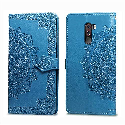 Bear Village Hülle für Xiaomi PocoPhone F1, PU Lederhülle Handyhülle für Xiaomi PocoPhone F1, Brieftasche Kratzfestes Magnet Handytasche mit Kartenfach, Blau