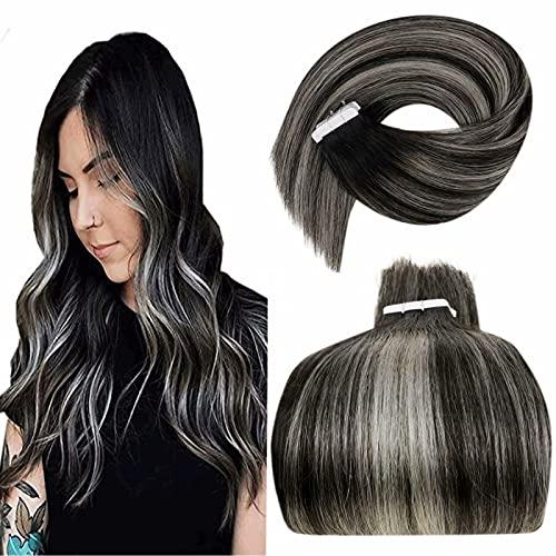 """LaaVoo Tape in Hair Extensions, Balayage Tape in Extensions Human Hair Ombre Off Black to Silver Glue in Remy Hair Extensions Ombre Black Tape Natural Hair Extensions Straight for Women 18"""" 20pcs/50g"""