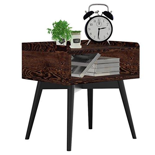 DYFYMXTable d'appoint Table de chevet en bois massif, porte de table d'angle - moins de casier téléphone table lampe table pieds en fer forgé (Couleur : C, taille : 50 * 40 * 50CM)