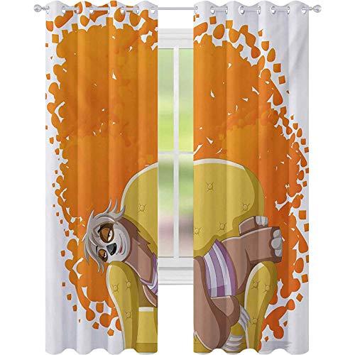 Mörkläggningsgardiner för rum, lat kvinna tecknad sengångare på soffan tupplurar på soffan drömmande maskot tal bubbla, B 52 x L 84 block-ut gardiner för vardagsrum, orange gul