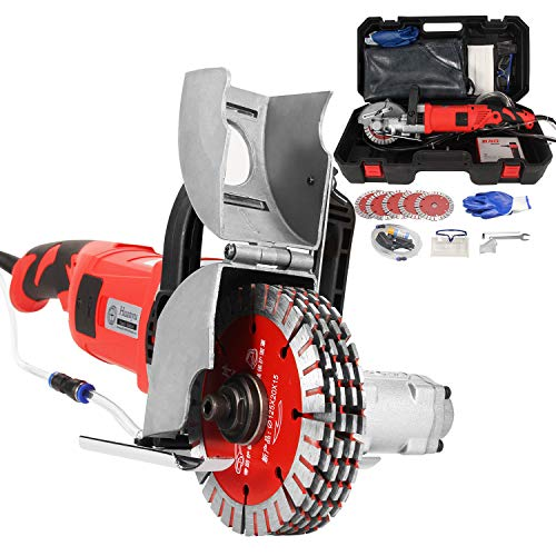 Huanyu Wall Grooving Machine Electric Wall Chaser 5200W 7500RPM Wall Groove Slotting Machine 4040MM 360° 220V Dust Free Brick Concrete Cutter for Home Decoration/Construction (Option 1)