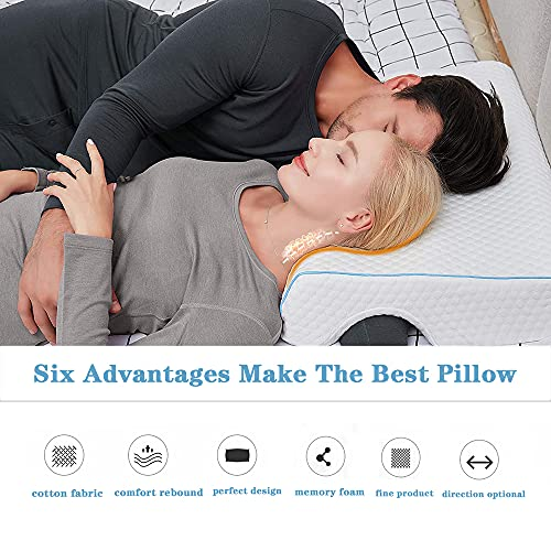 Jackgold Arched Cuddle Pillow,Couples Pillow with Slow Rebound and Breathable Memory Foam,Couple Cuddle Sleep Pillow for Anti Pressure Hand (Left)