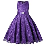 BEAUTY CHARM Girls Tulle Lace Glitter Vintage Pageant Prom Dresses with Belt Purple