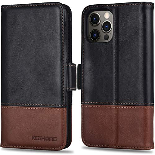 KEZiHOME Wallet Case for iPhone 12 Pro Max, Genuine Leather [RFID Blocking] Cover Credit Card Slots Flip Folio Magnetic Stand Phone Case Compatible with iPhone 12 Pro Max 5G (6.7 inch) (Black/Brown)