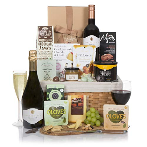 The Classic Wine and Cheese Collection - Prosecco & Red Wine - Food Hampers and Gourmet Gift Baskets - Hampers For Him or For Her - Free UK Delivery