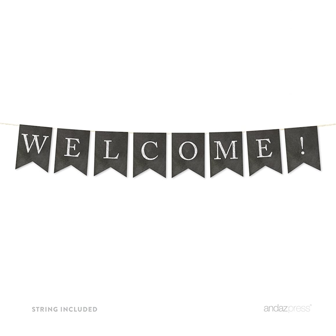 Andaz Press Hanging Bunting Pennant Party Banner with String, Vintage Chalkboard Cardstock, Welcome!, 3-Feet, 1-Set, Includes String