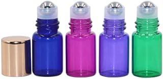 20 Pack,2ml(5/8 Dram) Glass Roll on Bottle Multicolour Sample Test Roller Essential Oil Vial Stainless Steel Roller Ball W...