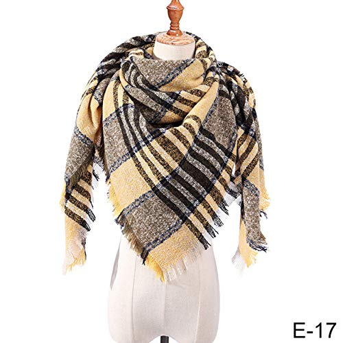 Sjaal, Women'S Plaid Winter Zwart Gele Lijnen Driehoek Sjaal Zachte Warm Breien Sjaal Sjaals Vrouwelijke Sjaals Bandana Vrije tijd Stijl Mode Trend Persoonlijkheid