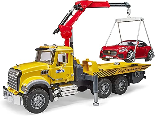 Bruder - Mack Granite Tow Truck with Bruder Roadster (02829) - For Ages (4) and Up -...