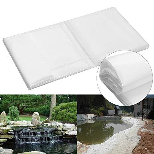 Baogu Weiß Teichfolie Gartenteich HDPE 16S für Fisch Teich Gardens Pools UV-Beständig reißfest umweltfreundlich (2m x 6m)