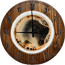 556 Gear Morning Coffee Wall Clock for Kitchen Wall Art Large Wood Wall Clock 12 inch Brown