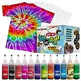Tie Dye Kit - Tie Dye Kits for Kids - Includes 4 White T-Shirt - 12 Large Colors Tie Dye - Tie Dye Kits for Adults - Tie Dye Party Supplies - tie dye kit for large groups - tye dye kit - Tyedyedye Kit