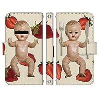 AQUOS R6 SH-51B ケース [デザイン:1.Baby strawberry/マグネットハンドあり] スケアリー アクオスr6 sh51b 手帳型 スマホケース スマホカバー 手帳 携帯 カバー