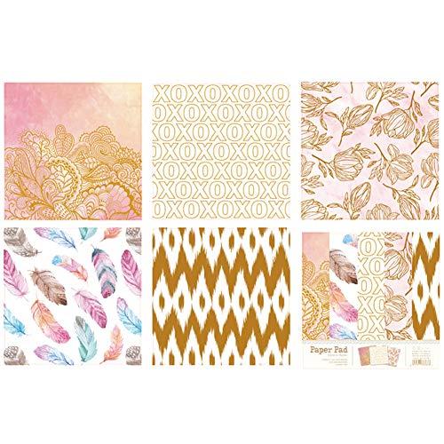 10pcs Pad Carta per Decoupage DIY Fiore Carte Decorative Metallic Gold Scrapbooking Carte Creative Papers 6inch