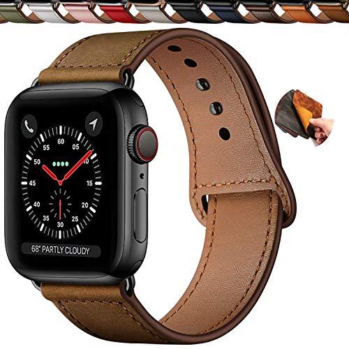 Qeei Cinturini Pelle Compatible with Apple Watch 44mm 42mm,Innovativo Cinturino in Vera Pelle Fibbia Nascosta Band Ricambio per iWatch SE Series 6 & 5 4 3,retrò Marrone Scuro