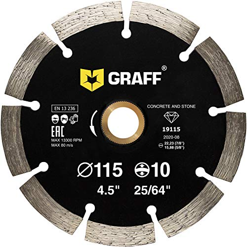 "GRAFF Diamond Blade for Angle Grinder - Diamond Cutting Wheel for Cutting Stone, Marble, Granite, Brick, Masonry, Paving Flag, Concrete - Diamond Saw Blades Segment Height 0.394"" (10mm) - 4 1/2 inches"