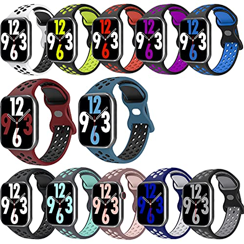 12 Pack Sport Bands Compatible with 38mm 40mm Apple Watch Bands, Breathable Soft Silicone Sport Band...