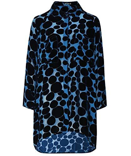 Grizas Mujeres Camisa de Seda y Terciopelo de Gran tamaño Blue S