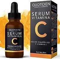 Serum Vitamina C + Ácido Hialurónico + Vitamina E- Serum Facial -95% Ingredientes Naturales- Aclara, Revitaliza,...