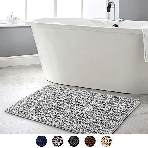 Frabe Chenille Badematte, rutschfeste Badteppiche, Weich und saugfähig Badezimmerteppich, Badvorleger für Badezimmer, Badewanne, Dusche(50x80cm,Silber-Grau)