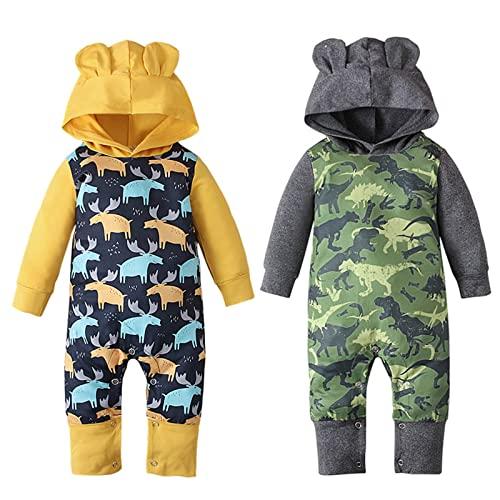 YQSR Mono de bebé para niña, con capuchón, manga larga, para bebé, para invierno, pijama de Navidad