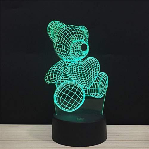 Optische Illusie 3D Leuke Beer knuffelen Hart Nachtlampje 7 Kleuren veranderen USB Power Touch Schakelaar Decor Lamp LED Tafel Bureau Lamp voor Kinderen, Kerst Decoratie, Verjaardagscadeau, Slapende Lamp