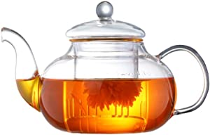 UPKOCH Glass Teapots Milk Pot Water Pitcher Beverage Carafe Teaware for Home Office Ice Hot Water Coffee Juice Tea with Filter