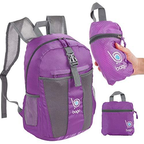 Packable Zaino per gli uomini, donne e bambini - Leggeri pieghevole Zaino - Usa come borsa da viaggio, Daypack, vai avanti per avere più spazio bagagli - si ripiega in E 'Tasca interna viola