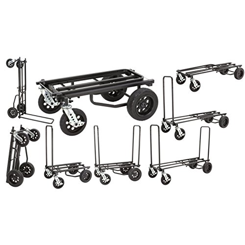 Rock-N-Roller R12STEALTH (All Terrain Stealth) 8-in-1 Folding Multi-Cart/Hand Truck/Dolly/Platform Cart/34' to 52' Telescoping Frame/500 lbs. Load Capacity, Black