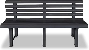 Festnight 3 Seater Outdoor Garden Bench Patio Porch Chair Seat with Backrest Solid Plastic Frame Construction Courtyard Decor