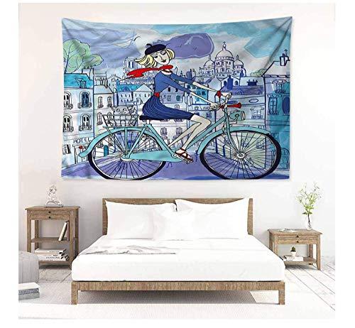 HYDDAXJW Tapisserie Abstract Wandteppich Paris Frau Auf Fahrrad Mit Katze Wandbehang Teppich Werfen 150X200Cm